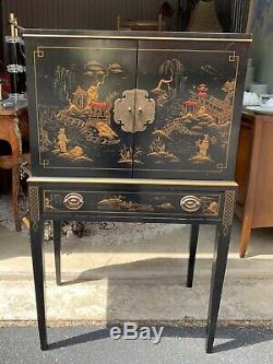 Drexel Chinoiserie Argent Cabinet Chest
