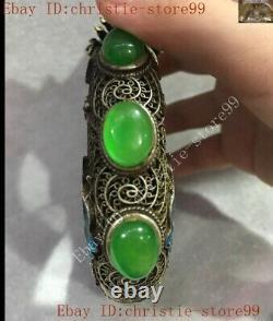 Dynastie Chinoise Argenté Enamel Dragon Incrustation De Jade Vert Exorcisme Bracelet Amulette