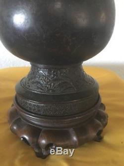 Dynastie Des Yuan Chinois Bronze Vase Et Support En Bronze