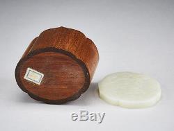 Dynastie Qing Antique, Plaque De Plaque De Jade Blanche Chinoise Dans Une Boîte En Bois