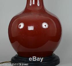 Dynastie Qing Chinois Lampe En Porcelaine Chinoise Langyao Pêche Glacé À La Pêche