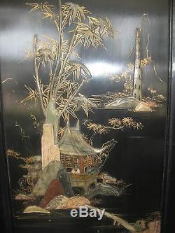 Ecran En Bois Sculpté Noir Vintage Chinois Avec Jade Incrusté Ou Pierre À Savon