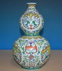 Élégant Vase Chinois Antique En Porcelaine Doucai Marqué Qianlong Rare Y5913