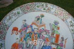 Énorme 38cm, Assiette Huit Immortels Chinois En Porcelaine De La Famille Rose, 19ème
