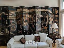 Énorme, Écran Chinois Asiatique Vintage Coromandel / Diviseur Chambre 20' De Large X 9' De Haut