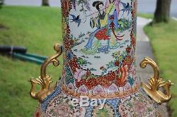 Énorme Palais Chinois Vase-moriage Satsuma-hommes Femmes-perles Colorées Fleurs-marke