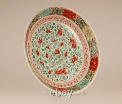 Énorme Plaque De Famille Verte En Porcelaine Chinoise Antique 17ème C Qing Marquée