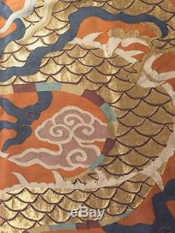 Énorme Rare Taille 178cmx81cm Dragon Chinois De Kesi, 19ème