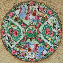 Ensemble De 12 Export Dîner Chinois Plaques 10 1/2 Famille Médaillon Rose