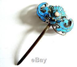 Épingle À Cheveux Avec Plumes De Martin-pêcheur De La Dynastie Qing Antique Vintage Blue Chinese Ca. 1850