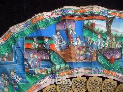 Eventail Antique Chinois En Bois De Santal Sculpté 11