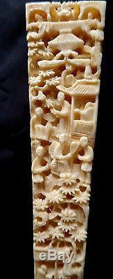 Eventail De Brise En Soie Brodée À La Main Sculptée En Filigrane Antique Chinois