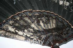 Eventails Chinois Anciens En Bambou Laqué Chinois Doré Peinture Papier Peint