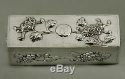 Export Argent Chinese Box C1890 Signé