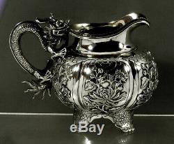 Export Silver Dragon Chinois Pitcher C1875 Wing Cheong