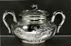 Exportation Chinoise Silver Dragon Bowl C1875 Chong Woo
