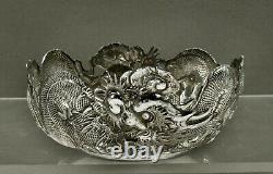 Exportation Chinoise Silver Dragon Bowls C1890 Wang Hing