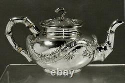 Exportation Chinoise Silver Dragon Teapot C1875 Chong Woo