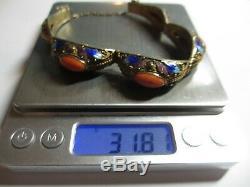 Exquis Vintage Chinese Export Argent Filigree Émail Bracelet Withsalmon Coral