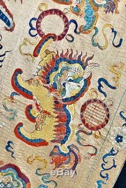 Extraordinaire! Antique 19ème Siècle Foo Lions Soie Chinoise Broderie Tapisserie