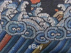 Faisan Antique D'argent Badge Rang Broderie Main Textile Chinois 5ème Rang