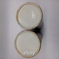 Famille Antique Chinoise Paire De Douille De Porcelaine Rose De Vases