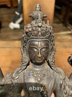 Figure Tibétaine Chinoise Antique De Bouddha De Bronze Qing Chine Asiatique