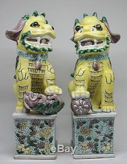 Figurine De Chien Foo Peinte À La Main En Porcelaine Chinoise, Grande