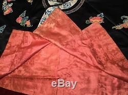 Fin 19ème Antiquité / 20ème Qi'ing Chinois En Soie Brodée Robe Broderie