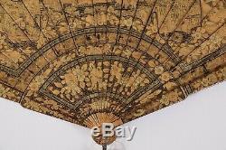Fine 19c Antique Chinois Doré À La Main Peint Laque Noire Brise Fan Qing Doré