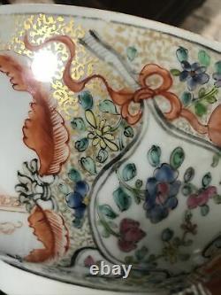 Fine Antique Chinese Famille Rose Mandarin Punch Bowl 18ème C