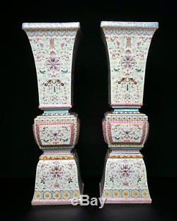 Fine Et Très Grande Paire De Vases Chinois Gu Époque République