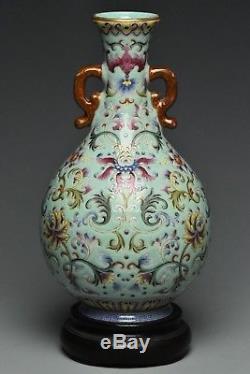 Fine Vase Famille Rose Chinois Qianlong Marque Et Support
