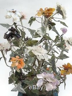 Grand Antique Chinese Qing Cloisonne Jardinière Avec Jade Arbre Fleur 20x17 H Max
