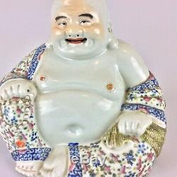 Grand Antique Vintage Porcelaine Chinoise Famille Rose Bouddha Statue Figure