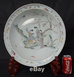 Grand Bassin De Porcelaine Chinoise Antique De 42cm Bassin De Belles Femmes Dans Le Jardin Qing