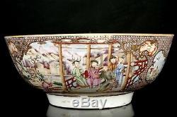 Grand Bol À Punch En Porcelaine Famille Rose D'époque Qianlong