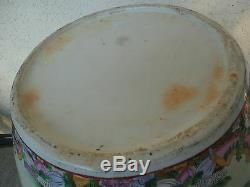 Grand Bol Chinois En Porcelaine Avec Pot De Poisson En Porcelaine Et Support En Bois