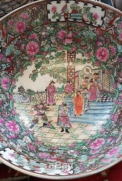 Grand Bol En Céramique Chinoise Antique Rose Famille