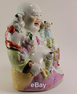 Grand Bouddha Riant En Porcelaine De Chine Famille Rose Antique W.