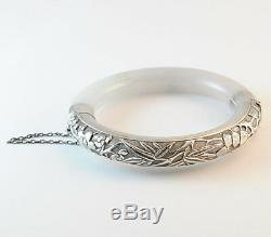Grand Bracelet Jade Antique Blanc Et Chinois Naturel En Argent Sterling