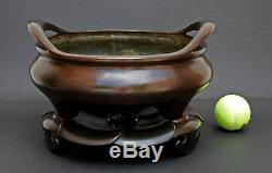 Grand Brûleur D'encens En Bronze Antique Chinois