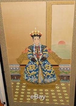 Grand Écran Sérigraphié En Soie Sur Panneau D'aquarelle De L'empereur Chinois