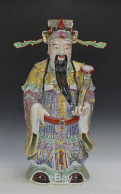 Grand Ensemble De 3 Statues Chinois En Porcelaine Longévité De La Famille Rose 3