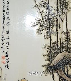Grand Ensemble De 4 Plaques À Suspendre En Porcelaine Avec Peinture Chinoise