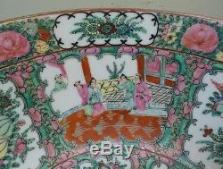 Grand Médaillon Rose D'exportation Chinoise Du 19e Siècle 14 Bol De Centre En Porcelaine