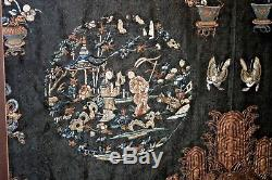 Grand Panneau Brodé En Or Avec Broderie Sur Soie Chinoise Antique Interdite
