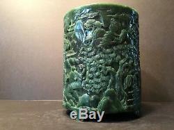 Grand Pot À Pinceaux Ancien Avec Épinards Chinois En Jade Avec Sculptures, Qing (1644-1912)