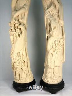 Grand Statues En Résine Vintage Fait À La Main Vintage Chinois / Italiens 'ivory' (paire) Norleans