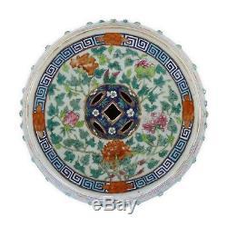 Grand Tabouret Chinois En Porcelaine Famille Rose Antique
